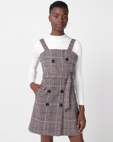 Utopia Check Pinafore With Poloneck Brown