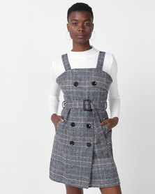 Utopia Check Pinafore With Poloneck Black