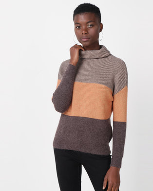 Utopia Colourblock Roll Neck Jumper Grey/Camel