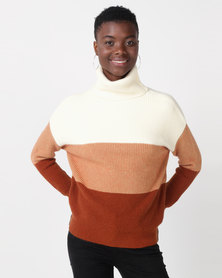 Utopia Colourblock Roll Neck Jumper Neutrals