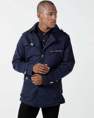 Utopia Sherpa Lined Twill Coat Navy