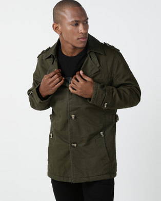 Utopia Sherpa Lined Twill Coat Olive