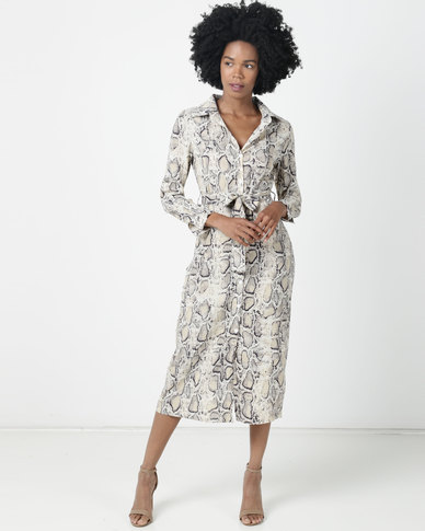Utopia Snake Print Georgette Maxi Shirt Dress With Belt Multi