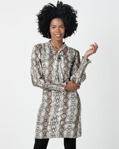 Utopia Snake Print Brushed Knit Dress Multi