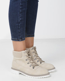Madison Jagger Lace Up Ankle Boots Ivory