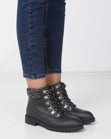 Madison Jagger Lace Up Ankle Boots Black