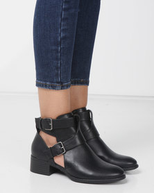 Madison Cut Out Ankle Boots Black