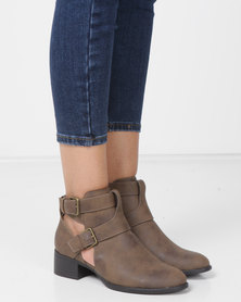Madison Cut Out Ankle Boots Choc