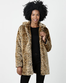 Utopia Animal Faux Fur Coat Multi