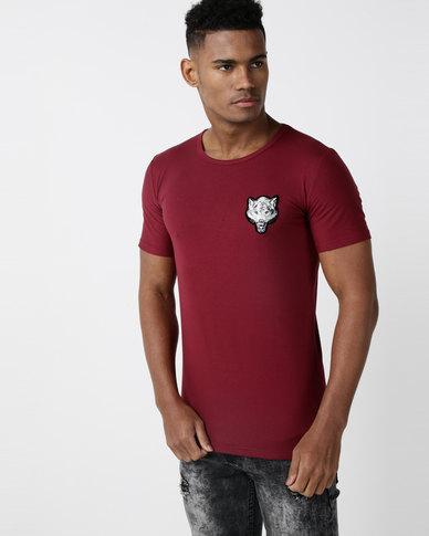 Utopia Fox Badge T-shirt Burgundy