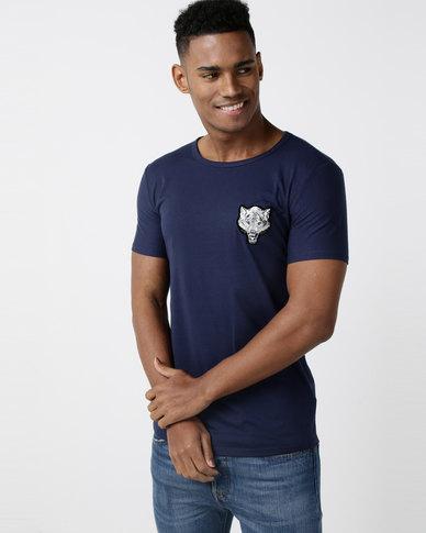 Utopia Fox Badge T-shirt Navy
