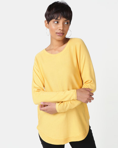 Miss Cassidy By Queenspark Curved Hem Jersey Mustard