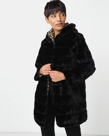 Miss Cassidy By Queenspark Miss Cassidy Hooded Faux Fur Woven Coat Black