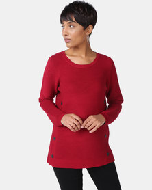 Cath Nic By Queenspark Button Trim Core Jersey Dark Red
