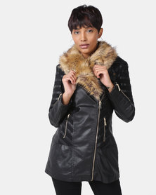 Cath Nic By Queenspark Cher Faux Fur Pleather Jacket Black