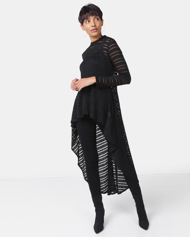 Cath Nic By Queenspark Designer Burnout Stripe Knit Top Black