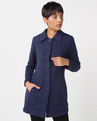 Queenspark Zigzag Knit Coat Navy