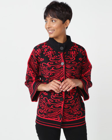 Queenspark Revival Cape Knitwear Cardigan Red