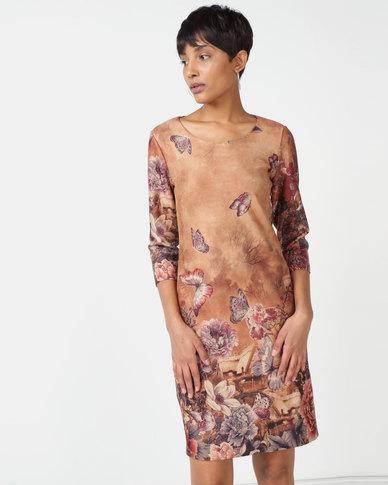 Queenspark Stretch Suedette 3/4 Sleeve Knit Dress Beige