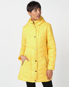 Queenspark Quilted Zip Through Woven Puffer Jacket Yellow