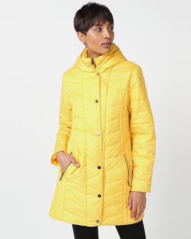 Queenspark Quilted Zip Through Woven Puffer Jacket Yellow