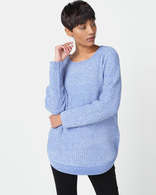 Queenspark Chenille Long Sleeve Crewneck Knitwear Blue