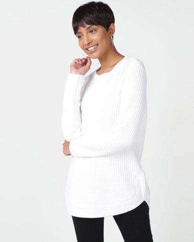 Queenspark Chenille Long Sleeve Crewneck Knitwear Cream
