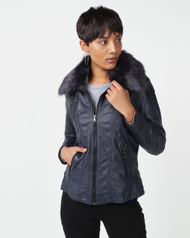 Queenspark Woven Pleather Jacket With Detachable Collar Navy
