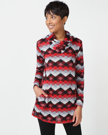 Queenspark Long Sleeve Neck Detail Patterned Knit Top Red