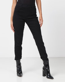 Queenspark Stitch Detail Denim Jeggings Black