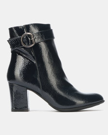 Queenspark High Heel Ankle Boots with Ring Detail Navy
