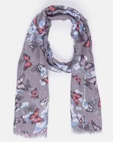Queenspark Butterfly Sequins Scarf Grey