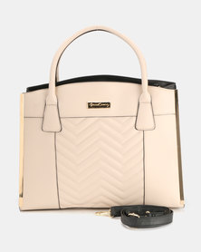Queenspark Chevron Quilted Inset Bag Nude