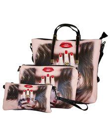 Fino 3Pcs Pu Leather Tote Handbag , Shoulder Bag & Purse Set Black & Pink