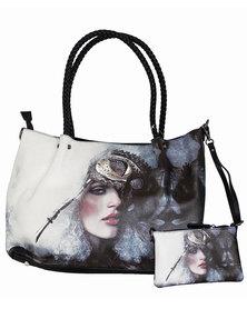Fino Ladies 2 In 1 Maxi PU Leather Tote Bag - Black & White