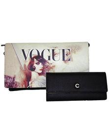 FINO PU Leather Vogue Printed Clutch Bag Black