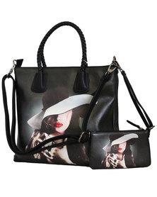 Fino Ladies 2 In 1 Maxi PU Leather Tote Bag Black