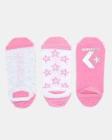 Converse Metallic Sparkle No Show 3PK Converse Socks Pink/White