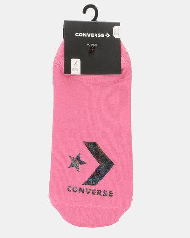 Converse 3PK Socks White & Pink