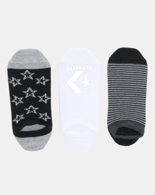 Converse Metallic Sparkle No Show 3PK Converse Socks Black
