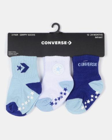 Converse Gripper Sock Pack 3 Blue