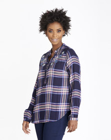 Contempo Embriodered Check Shirt Red
