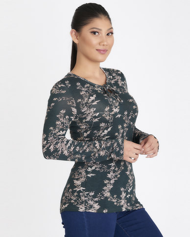 Contempo Floral Knit Top Green
