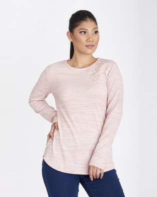 Contempo Top With Lace Applique Pink