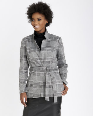 Contempo Belted Jacket with PU Collar Black