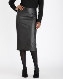 Contempo Pu Skirt With Exposed Zip Black