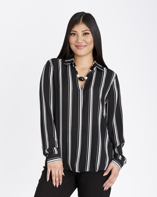 Contempo Stripe Top with Pleat Front Black