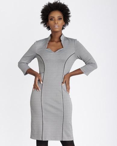 Contempo Piped Panel Dress Grey
