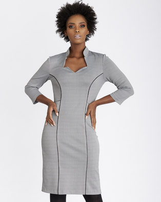 Contempo Piped Panel Dress Grey