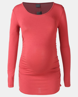Cherry Melon Round Neck Top With Side Details Rust